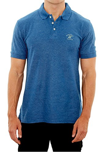 Beverly Hills Polo Club Men\'s Pique Polo with Horse Logo, Blue Heather, X-Large'