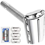 Double Edge Safety Razor, Oak Leaf Butterfly Open Men's Shaving Razor with 3 Premium Blades