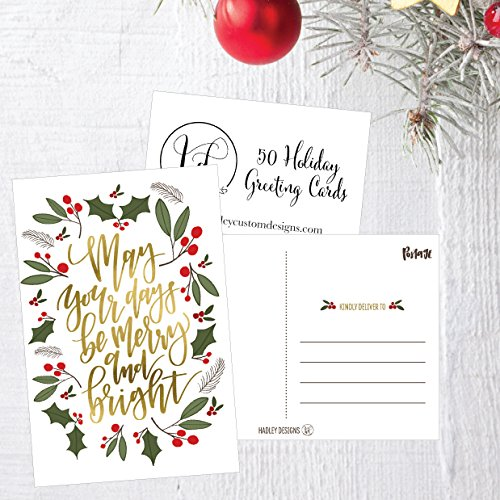 50 Green & Gold Holiday Greeting Cards, Cute Fancy Blank Winter Christmas Postcard Set, Bulk Pack of Premium Seasons Greetings Note, Happy New Years for Kids, Business Office or Church Thank You Notes Photo #4