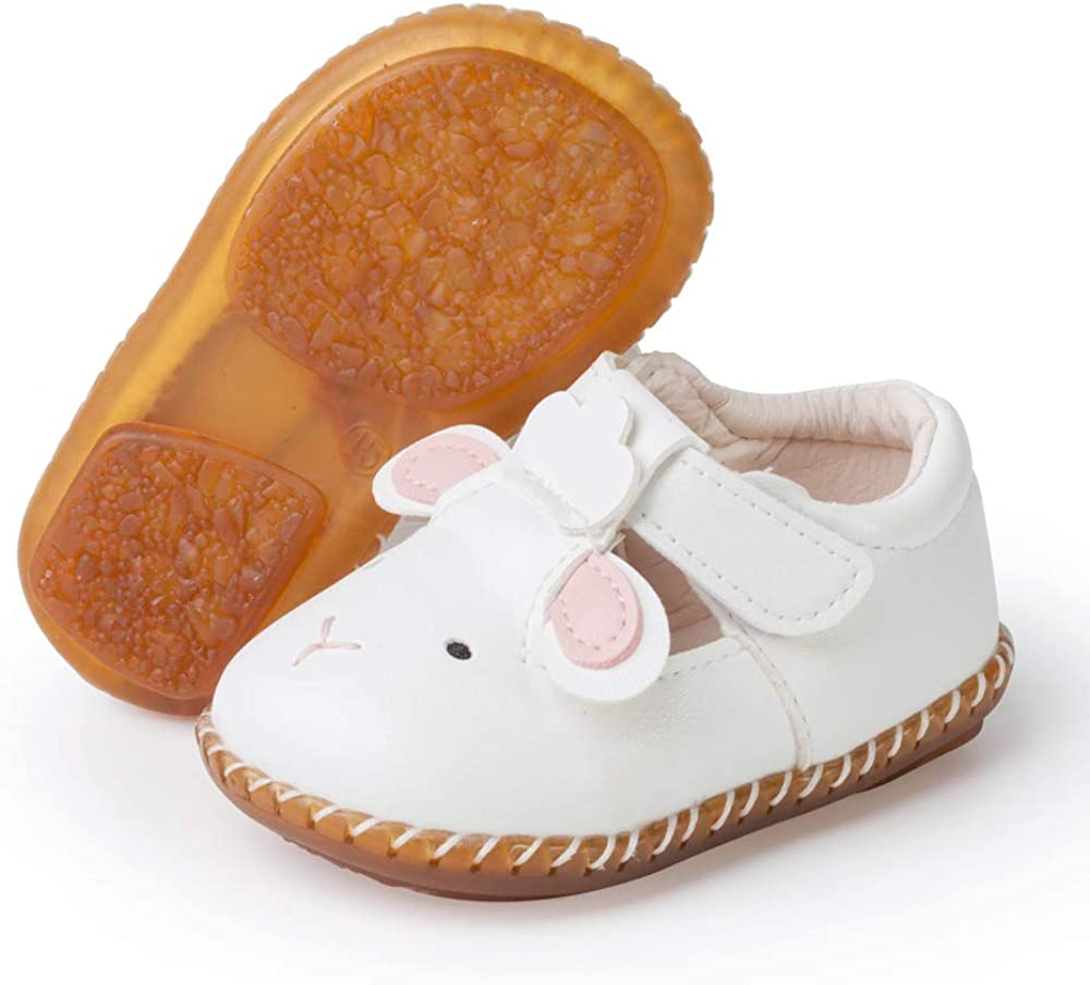 SOFMUO Baby Mary Jane Moccasins PU Leather Soft Non-Slip Rubber Sole Infant Girl Boy Flats Newborn Crib Shoes Toddler First Walking Shoes 0-2 Years Old