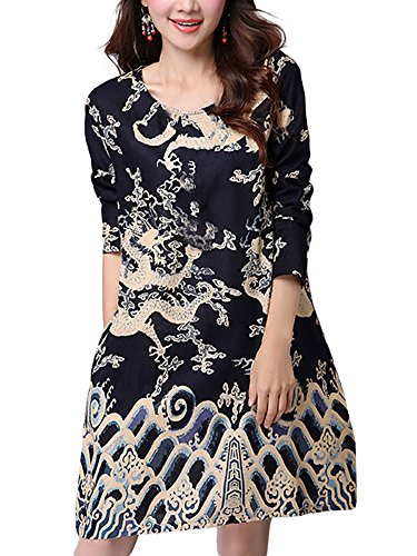 Above Red Women Dragon Printed Pocket Dress Knee Chinese Pattern q8fXxwPS