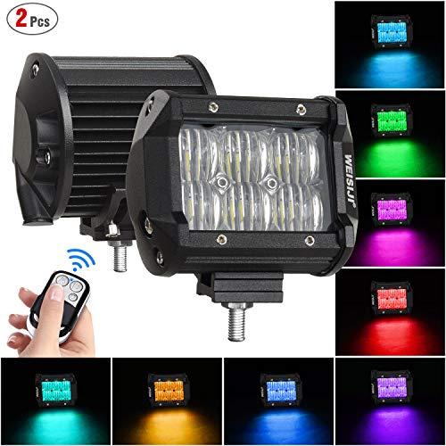WEISIJI RGB LED Pods Light Bar 4 Inch 60W Driving Fog Off Road Lights Spot Flood Combo Beam LED Cubes Lights for Pickup Truck ATV UTV SUV Boat(Flood,2Pcs)