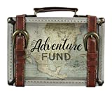 """Young's 17223 Adventure Fund Suitcase Buckle Wooden Travel Savings Bank, 8.5"""" x 2"""""""