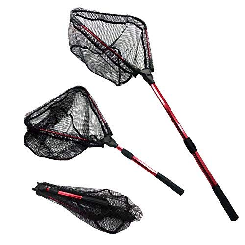 - MelkTemn Fishing Net, Fish Net Foldable Fish Landing Net Collapsible Pole Handle Durable Nylon Mesh Safe Fish Catching Landing nets for Fishing (Red)