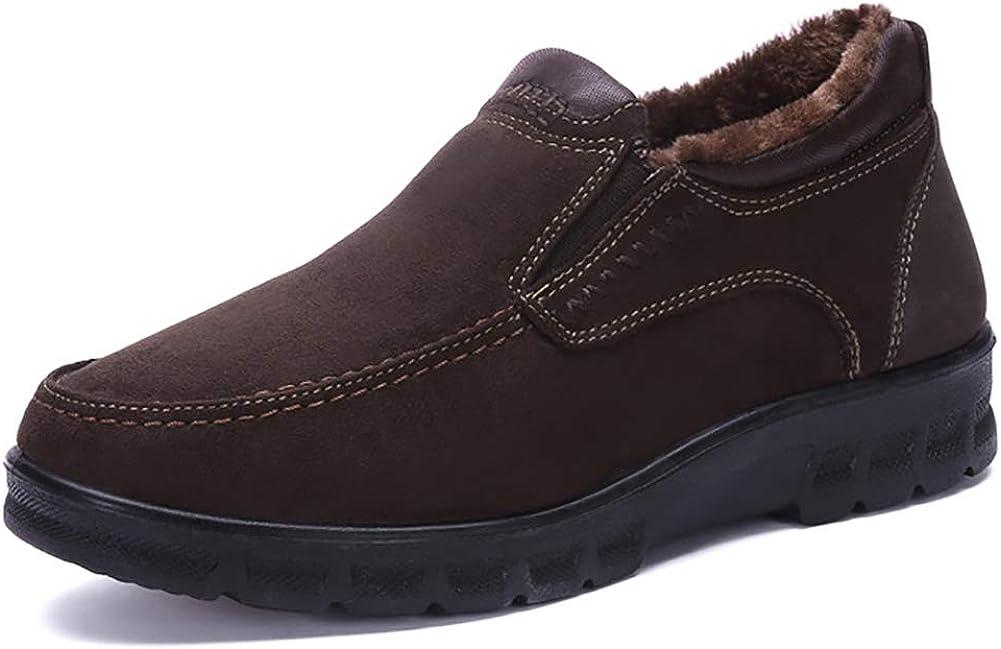 Botas de Piel de los Hombres Zapato de Pelo Interno Caliente Mantenimiento Diario Suave papá Casual Calzado Antideslizante