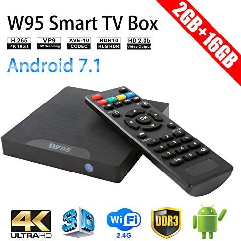 winbuyer W95 Android TV Box Android 7.1 Smart TV Box 64bit Quad Core CPU 2 GB + 16 GB 4 K UHD WiFi & LAN vp9 DLNA H.265: Amazon.es: Electrónica