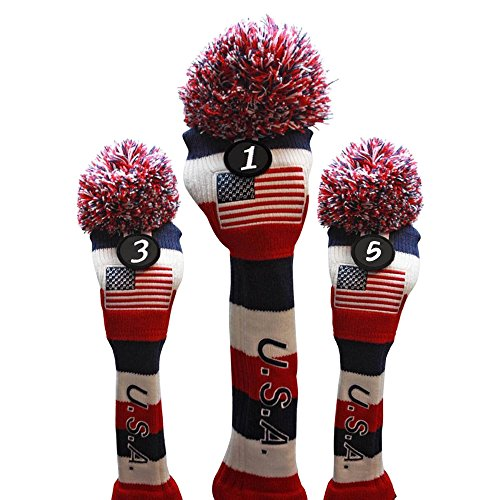 USA Majek Golf Driver 1 3 5 Fairway Woods Headcovers Pom Pom Knit Limited Edition Vintage Classic Traditional Flag Stars Red White Blue Stripes Retro Head Cover Fits 460cc Driver and 260cc Metal Woods