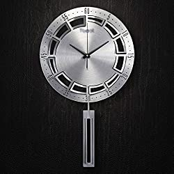 wall clock Clocks and watches pendulum clock Gold Silver Metallic Round Swinging Large modern Simple Mute silent Suitable for bedroom & living room & home & kitchen Size 67 38cm ( Color : Silver )