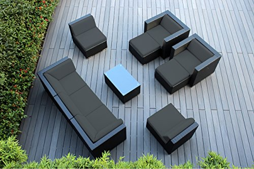 Ohana 10-Piece Outdoor Wicker Patio Furniture Sectional Conversation Set with Weather Resistant Cushions, Dark Gray PN1001dg