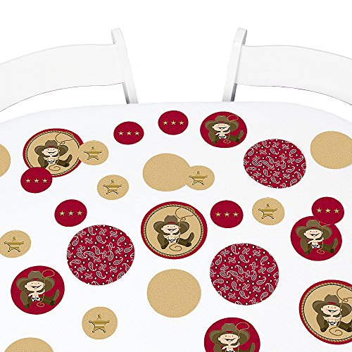 Big Dot of Happiness Little Cowboy - Western Baby Shower or Birthday Party Giant Circle Confetti - Party Decorations - Large Confetti 27 Count]()