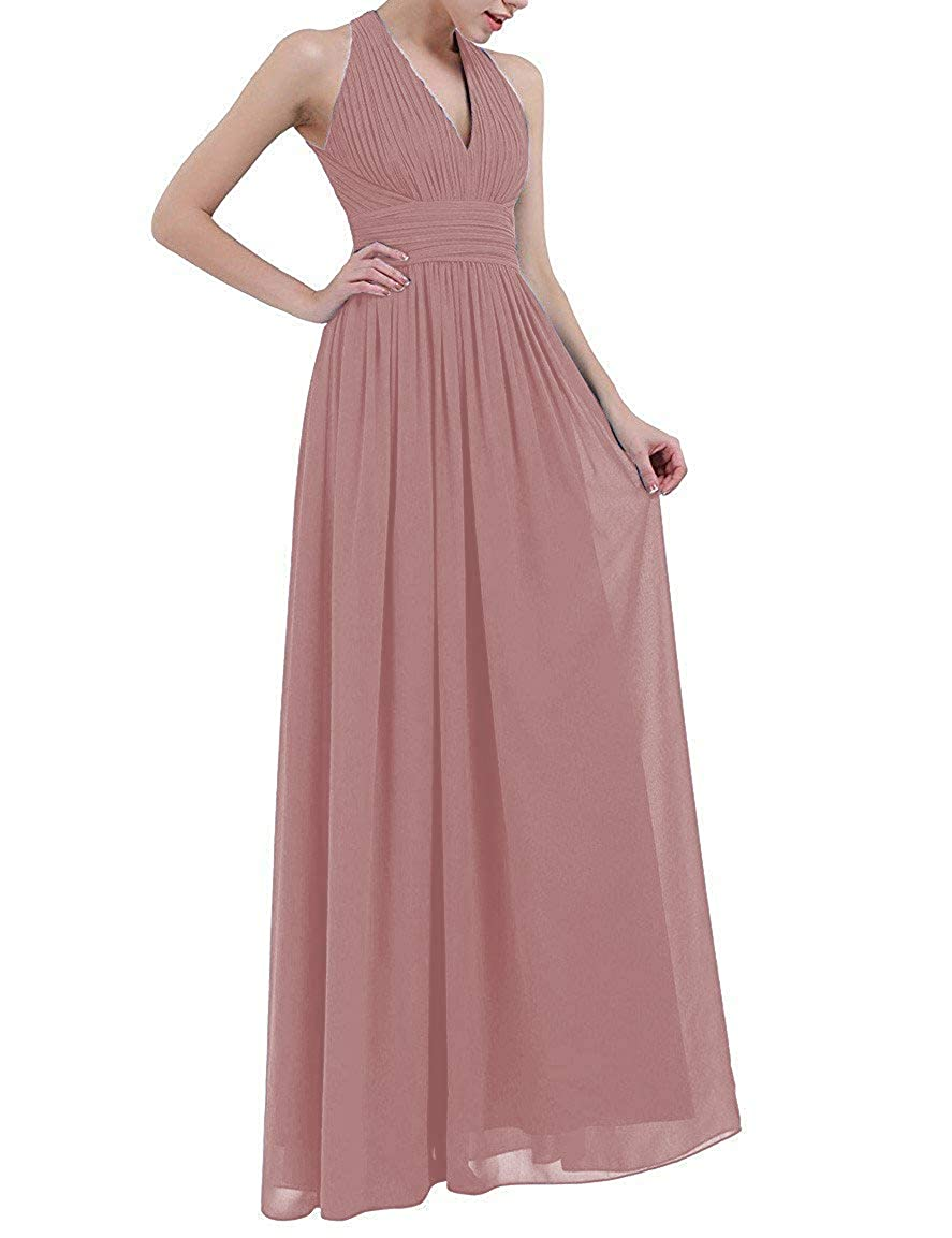 Dusty Mavve Stylefun Women's Halter Ruched Bridesmaid Dresses A Line Floor Length Wedding Party Evening Gown KN008