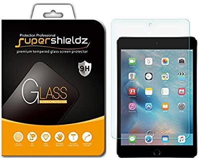 iPad Mini 4 Tempered Glass Screen Protector, Supershieldz Anti-Scratch, Anti-Fingerprint, Bubble Free, Lifetime Replacement Warranty by Supershieldz
