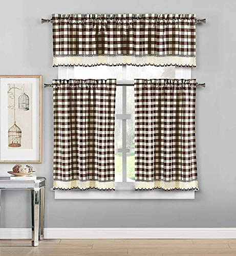 Bathroom and More 3 Piece Plaid, Checkered, Gingham Kitchen Curtain Set: 35% Cotton, 1 Valance, 2 Tier Panels, with Crochet Accent (Chocolate)
