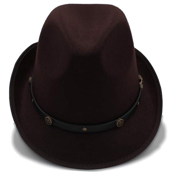 Sunhat-TX Sombrero - Sombrero de Invierno Fedora Sombreros de Invierno de Panamá para Mujeres Hombre Fedora de Lana de Fieltro (Color : Azul Oscuro, ...