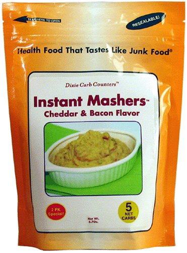 Dixie Carb Counters Bacon & Cheddar Instant Mashers - Low Carb Potatoes - Cheddar Fat Reduced