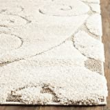 Safavieh Florida Shag Collection SG455-1113 Scrolling Vine Cream and Beige Graceful Swirl Area Rug (2'3'' x 4')