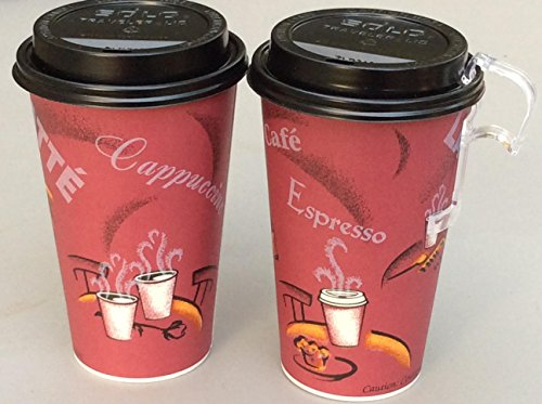 Price comparison product image Bistro Design paper Coffee Cups 16 Oz. With lid - 100 sets- plus 5 plastic clip on cup handles