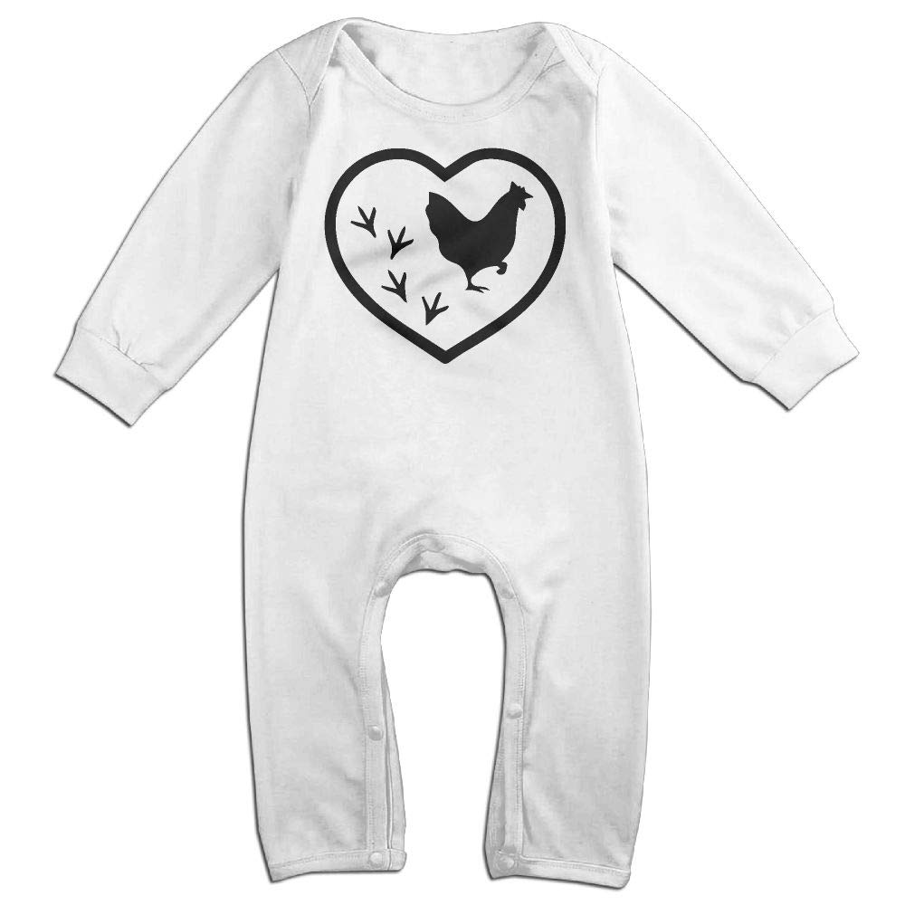 UGFGF-S3 Chicken Footprint Heart Long Sleeve Infant Baby Unisex Baby Bodysuit for 6-24 Months Bodysuit