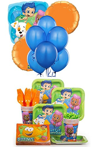 Bubble Guppies Complete Birthday Party Package for 8 Guests - Includes Balloons, Plates, Napkins, Cups & Cutlery