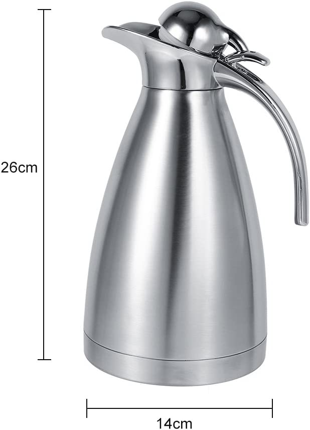 Coffee Pot Stainless Steel Coffee Tea Pot Double Wall Vacuum Insulated Thermo Jug Hot Water Bottle 1.5L-Blue