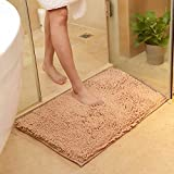 Large Bathtubs USFEEL Super Soft Microfiber Bathroom Mat Non Slip Absorbent Shag Shower Rugs for Bathroom, Kitchen, Bathtub and Bedroom (Large 50 x 80 cm, Camel)