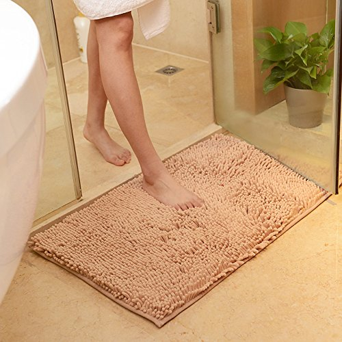 USFEEL Super Soft Microfiber Bathroom Mat Non Slip Absorbent Shag Shower Rugs for Bathroom, Kitchen, Bathtub and Bedroom (Large 50 x 80 cm, Camel)