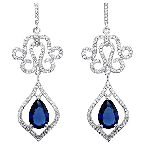 EVER FAITH 925 Sterling Silver CZ Vintage Inspired Art Deco Vine Chandelier Drop Earrings Sapphire Color