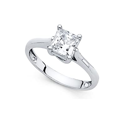 14k yellow or white gold princess solitaire cz engagement ring 100 Years Symbol Wheat 14k yellow or white gold princess solitaire cz engagement ring anniversary single stone square cz band amazon