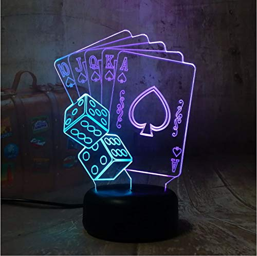 tfqddp Novelty Poker Playing Card 3D Led RGB 7 Mixed Dual Color Night Light Kids Birthday Present Toys of Christmas Bedroom Decoration ()