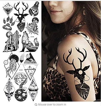 Selva Negra Alce Cuerno Roaring Lobo Tatuaje a Prueba de Agua ...