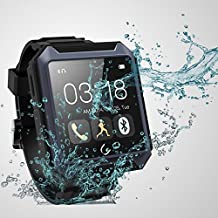 Qkking Deluxe Edition U TERRA Watch Travel Tricks 2.0 inch 1.3 MP Ip68 Waterproof Shockproof Dustproof Bluetooth 4.0 Smart Watch Smartwatch Touch Screen for Samsung Galaxy Note 4/3/2 S6/S6 Edge/S5/S4/S3/S2 Sony Xperia Z4/Z3/Z2 HTC ONE M7/M8/M9 LG G2/G3/G4 Android Smartphones Iphone 6 Iphone 6 Plus iphone 5s/5c/5/4s IOS Cellphone-Blue