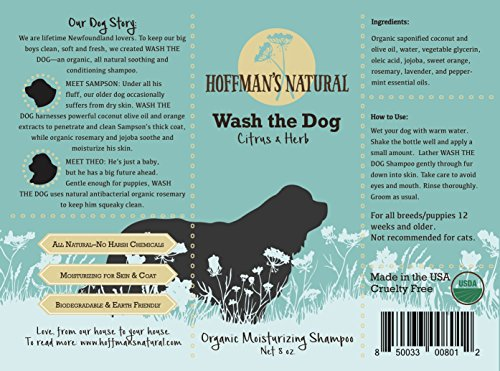 Hoffman's Natural Wash the Dog | Organic Dog Shampoo |100% All Natural | Hypoallergenic | Soothing for Normal, Dry, Itchy or Allergy Sensitive Skin | Made in USA | (8 Oz, Citrus & Herb)