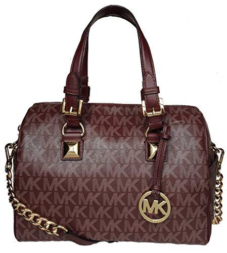 Michael Kors MK Grayson Merlot medium barrel shoulder satchel handbag bag - Michael Kor