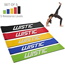 WISTIC Exercise Bands Resistance Heavy Duty Resistance Bands for Legs and Butt 5 Set of Resistance Loops Workout Exercise Stretch Bands for Home Fitness, Pilates, Yoga, Physical Therapy, Rehab