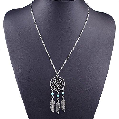 Willsa Fashion Women Girl Retro Jewelry Dream Catcher Pendant Chain Necklace (Tone Beaded Disc)