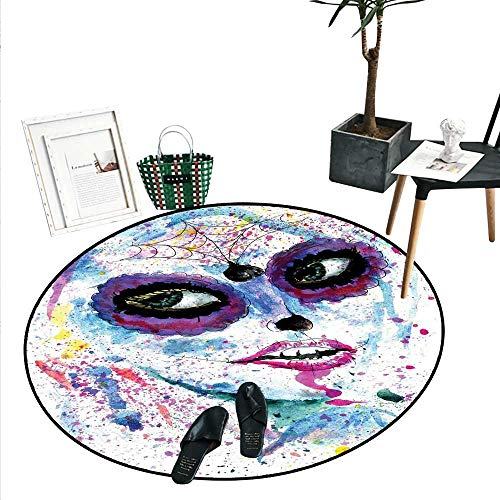 Girls Dining Room Home Bedroom Carpet Floor Mat Grunge Halloween Lady with Sugar Skull Make Up Creepy Dead Face Gothic Woman Artsy Soft Area Rugs (4'2