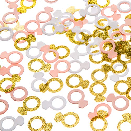 MOWO Glitter Diamond Ring Paper Confetti Table Decor and Event Decor, Gold Glitter,Pink,White, 200 Count -