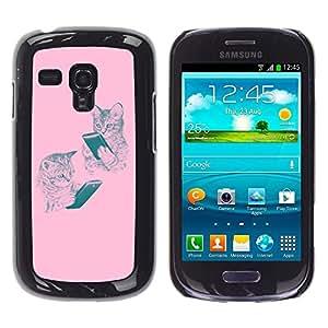 Tiger Animal Rugido Bostezo Lengua Feroz- Metal de aluminio y de plástico duro Caja del teléfono - Negro - Samsung Galaxy S3 MINI i8190 (NOT S3)