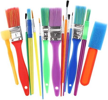 Hellery ペイントブラシ 水彩画 油絵 スポンジブラシセット 油絵筆 塗装ペン 子供向け DIY 約15個セット