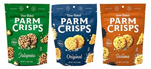 ParmCrisps Parmesan Cheese Crisp Assortment - Original Parmesan, Jalapeno, and Black Sesame 100% Parm Crisp Cheese Snack, Gluten-Free & Keto Friendly (Pack of 3, 1 of Each Flavor)