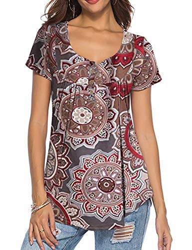 - Jessica CC Women's Floral Print Blouse Tunic Shirt (Taupe, X-Large)