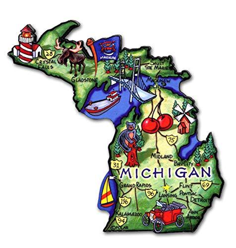Michigan the Great Lakes State Artwood Jumbo Fridge ()