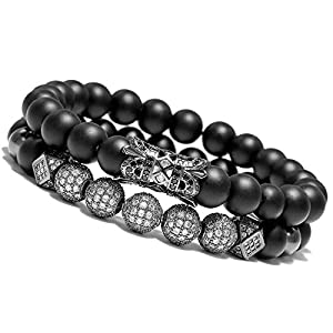 WFYOU 8mm Charm Beads Bracelet for Men Women Black Matte Onyx Natural Stone Beads, 7.5″