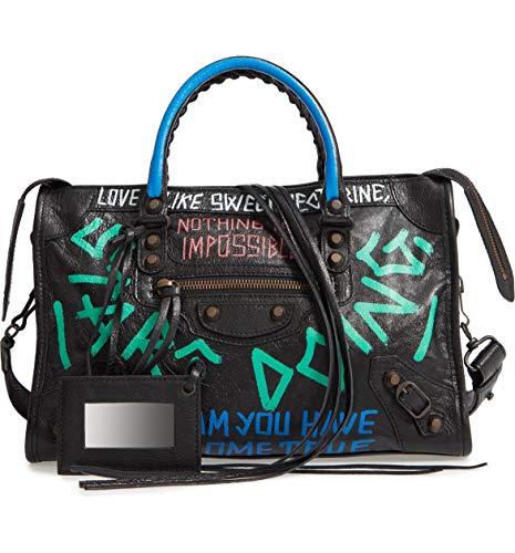 Balenciaga Small City Graffiti Lambskin Leather Tote Black Multi Bag New