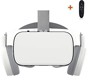LONGLU VR Headset for iPhone & Android Phones, 3D Virtual Reality Wireless Bluetooth Glasses Goggles with Remote Controller for Play Game Watching Movie 4.7-6.2 inch Phone.