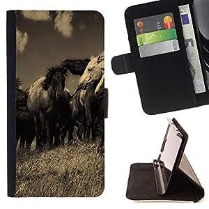 Momo Phone Case / Flip Funda de Cuero Case Cover - Caballos Negro negro Sepia Antiguo Vintage Nature - Sony Xperia Z2 D6502