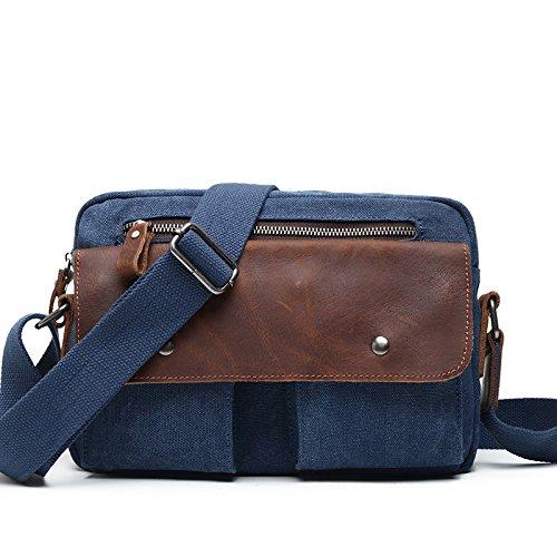 mefly Student Bolsa Europea y Amer ikanischen Retro Canvas bolso de Trend Tiempo Libre Hombres hombros Computer Bag, Lake Green azul marino