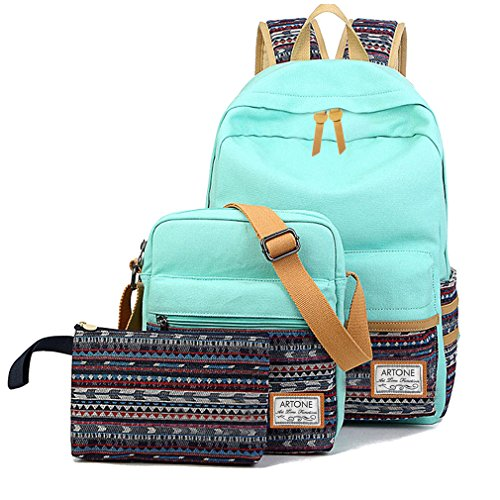 Artone Canvas Tribal Stripes Travel Daypack Campus Backpack With Crossbody Bag And Pencil Case Auqa Blue (Backpack Urban Laptop Canvas)