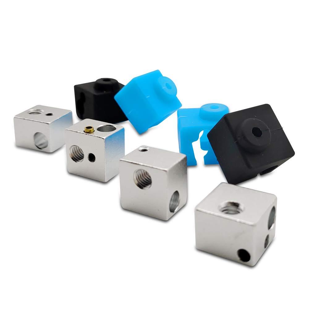 J-Head Hotend 3D Printer Parts for Anycubic Original I3 Mega Hotend Mega-S Parts 4PCS V5 Heater Block +4PCS Silicone Cover Sock 2black/&2blue
