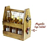 quirky bottle opener - Teikis Wooden Beer Carrier with Bottle Opener and Magnetic Cap Catch